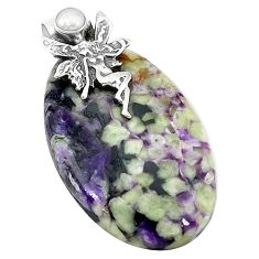 Natural purple chevron amethyst 925 silver angel wings fairy pendant k62925