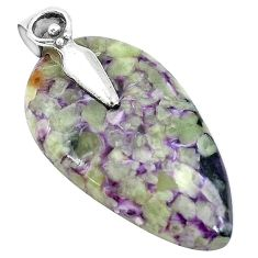 Natural purple chevron amethyst 925 sterling silver pendant jewelry k62929