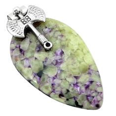 925 sterling silver natural purple chevron amethyst pendant jewelry k62940
