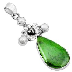 Natural green aventurine white pearl 925 silver flower pendant jewelry k64406