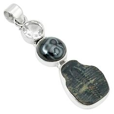 Natural black trilobite psilomelane (crown of silver) 925 silver pendant k67810