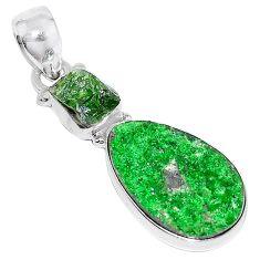 Natural green uvarovite garnet chrome diopside rough 925 silver pendant k72962