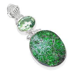 925 sterling silver natural green uvarovite garnet oval amethyst pendant k72964