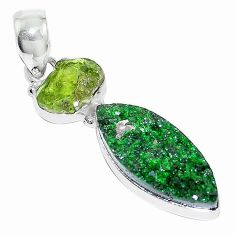 925 sterling silver natural green uvarovite garnet peridot rough pendant k72971