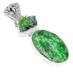 Natural green uvarovite garnet chrome diopside rough 925 silver pendant k72973