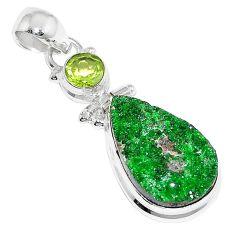 17.22cts natural green uvarovite garnet peridot 925 silver pendant k72982