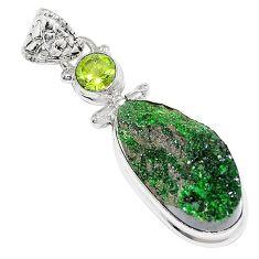 20.67cts natural green uvarovite garnet peridot 925 silver pendant k72983