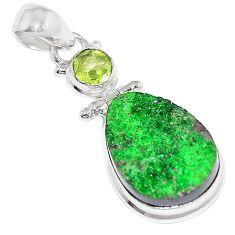 19.60cts natural green uvarovite garnet peridot 925 silver pendant k72985