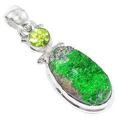 17.65cts natural green uvarovite garnet peridot 925 silver pendant k72986