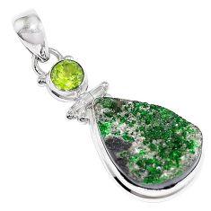 19.20cts natural green uvarovite garnet peridot 925 silver pendant k72987