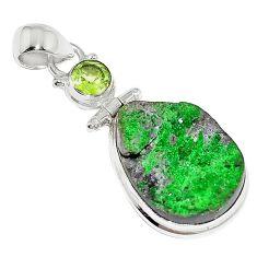 21.68cts natural green uvarovite garnet peridot 925 silver pendant k72994