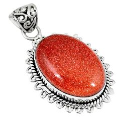 Natural brown goldstone oval 925 sterling silver pendant jewelry k83387