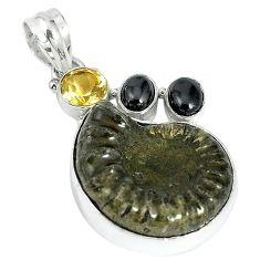 Natural brown pyrite ammonite hematite citrine 925 silver pendant k87190