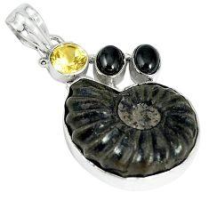 Natural brown pyrite ammonite hematite citrine 925 silver pendant jewelry k87194