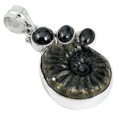 925 silver natural brown pyrite ammonite hematite pendant jewelry k87195