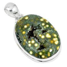 Ocean druzy oval 925 sterling silver pendant jewelry k87447