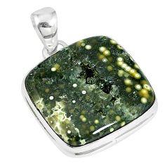 Ocean druzy cushion 925 sterling silver pendant jewelry k87449