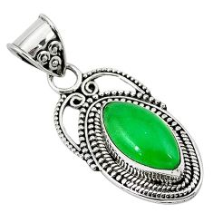 Green jade marquise shape 925 sterling silver pendant jewelry k89826