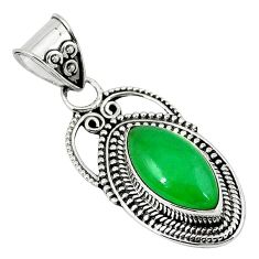 Green jade marquise shape 925 sterling silver pendant jewelry k89833