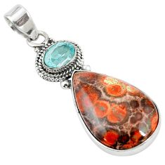 925 sterling silver natural red birds eye blue topaz pendant jewelry m13914