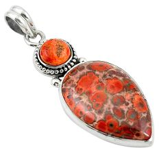Natural red birds eye copper turquoise 925 silver pendant jewelry m13915