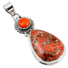 925 silver natural red birds eye pear copper turquoise pendant jewelry m13916