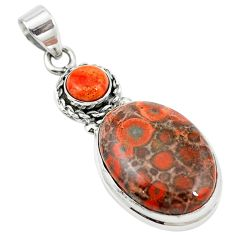 Natural red birds eye copper turquoise 925 silver pendant jewelry m13918