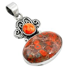 Natural red birds eye copper turquoise 925 sterling silver pendant m13919