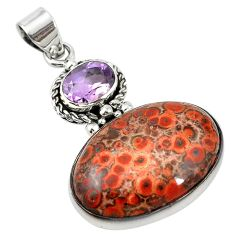 925 sterling silver natural red birds eye purple amethyst pendant m13920
