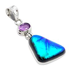 Multi color dichroic glass amethyst 925 sterling silver pendant m14107