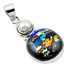 Multi color dichroic glass pearl 925 sterling silver pendant jewelry m14109