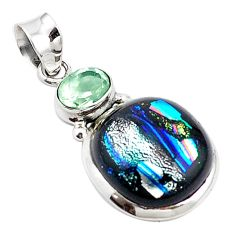 Multi color dichroic glass amethyst 925 sterling silver pendant m14113