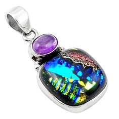 Multi color dichroic glass amethyst 925 sterling silver pendant m14119
