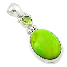 925 sterling silver natural green gaspeite peridot pendant jewelry m2496
