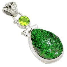 Natural green uvarovite garnet peridot 925 silver pendant jewelry m26311