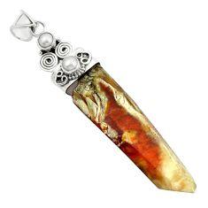 Natural brown angel phantom quartz pearl 925 silver pendant m33681
