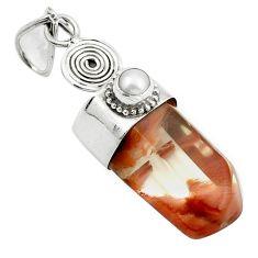 Natural brown angel phantom quartz pearl 925 silver pendant jewelry m33694
