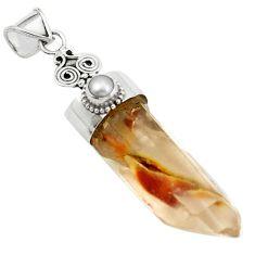 925 silver natural brown angel phantom quartz pearl round pendant m33699