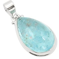 Natural untreated blue topaz 925 sterling silver pendant jewelry m33787