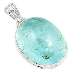 Natural untreated blue topaz 925 sterling silver pendant jewelry m33797
