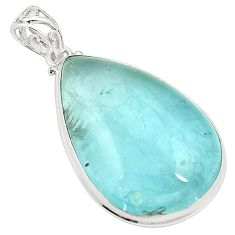 Natural untreated blue topaz pear 925 sterling silver pendant jewelry m33799