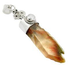 Natural brown angel phantom quartz pearl 925 silver pendant m33841