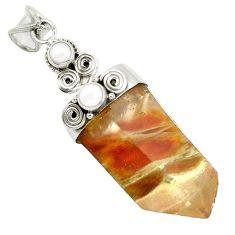 Natural brown angel phantom quartz pearl 925 silver pendant m33842