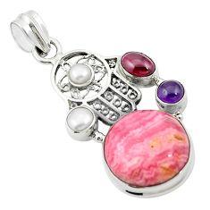 Natural pink rhodochrosite inca rose 925 silver hand of god hamsa pendant m44524