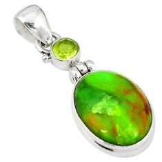Natural green gaspeite peridot 925 sterling silver pendant jewelry m9177