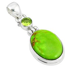 925 sterling silver natural green gaspeite peridot pendant jewelry m9178