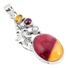 20.38cts natural brown mookaite citrine 925 silver deltoid leaf pendant p49482
