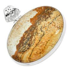 37.38cts natural brown picture jasper 925 sterling silver pendant jewelry p59223