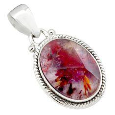 14.26cts natural purple cacoxenite goiás, brazil 925 silver pendant p76139