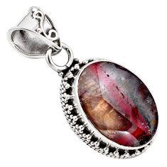 13.71cts natural purple cacoxenite goiás, brazil 925 silver pendant p84624